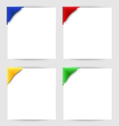 Color clip corner on white paper vector image