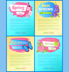 color spring sale posters set discount butterflies vector image