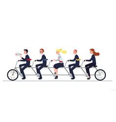 Coordinated business team riding tandem bike flat vector