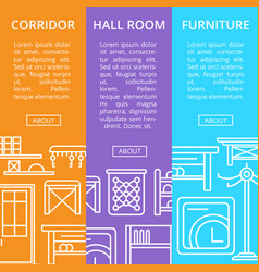 Corridor furniture poster set in linear style vector