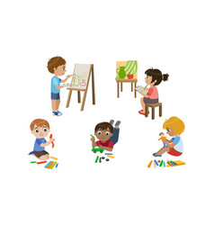 Creative kids set cute boys and girls painting vector