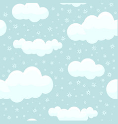 cute clouds with snowflakes seamless pattern vector image
