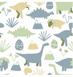 Cute seamless pattern with dinosaurs kids simple vector