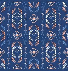 dark blue and peach wildflower geo vector image