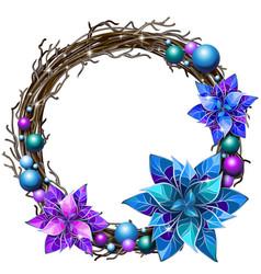 Decoration christmas wreath interwoven branches vector