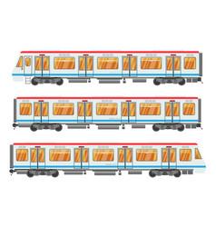 detailed underground train car set isolated vector image