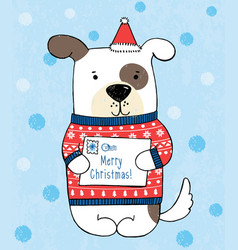 Dog in red polka dot sweater vector