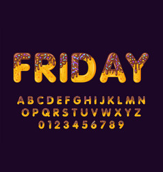 Donut cartoon friday biscuit bold font style vector