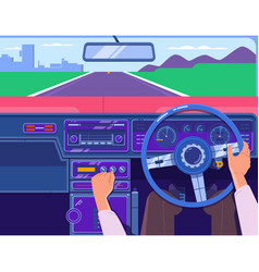 Driving a car on the highway car on the road vector