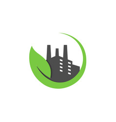 eco factory industrial green logo concept design vector image