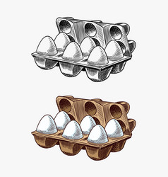 Egg packaging farm product engraved hand drawn vector