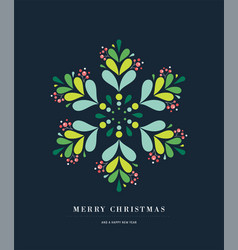 elegant snowflake poster winter icon merry vector image