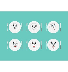 Emotions plate Set expressions cutlery Good and vector image
