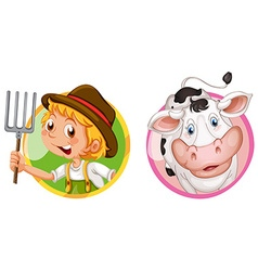 Farmer and cow on round badges vector