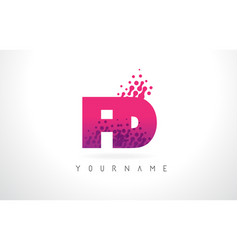 Fd f d letter logo with pink purple color and vector