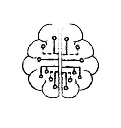Figure anatomy brain with circuits digital vector