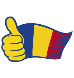 Flag of romania and hand showing thumbs up vector