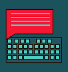 Flat line icon concept of new email inbox message vector