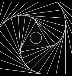 Fractal spinning white pattern with a triangle and vector