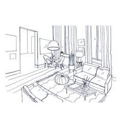 Freehand drawing of living room full of stylish vector