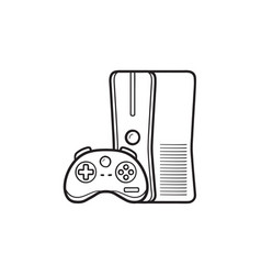 game console with joystick hand drawn outline vector image
