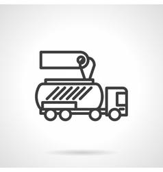 Gasoline tanker black line design icon vector image