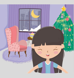 girl living room tree sofa window snow moon vector image