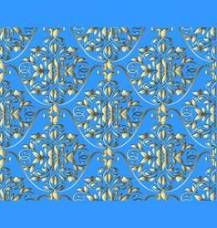 gold floral damask seamless pattern vintage vector image