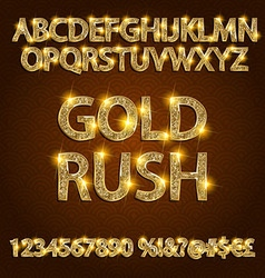 gold rush alphabets vector image