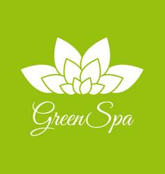 green spa leaf flower logo design template white vector image