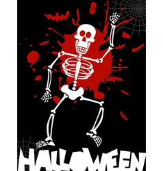Halloween dancing skeleton background vector