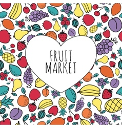 Hand-drawn fruit market concept Heart shape with vector image