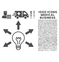 Idea Icon with 1000 Medical Business Pictograms vector image