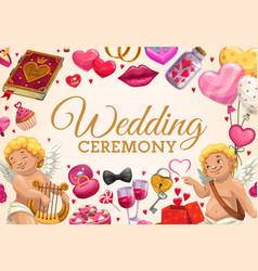 Invitation on wedding ceremony cupids love signs vector