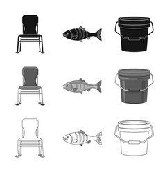 Isolated object of fish and fishing symbol vector