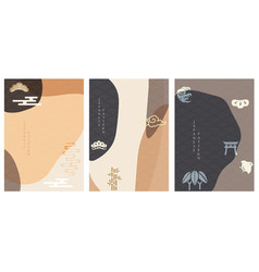 japanese background asian icons and symbols vector image