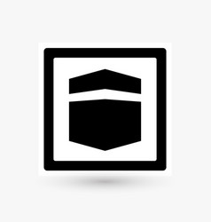 Kaaba road sign design black cube icon simple vector