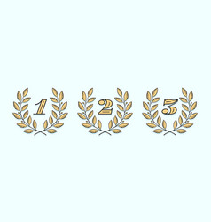 laurel wreath icon with number one two three vector image