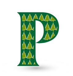 letter p christmas festive font icon vector image