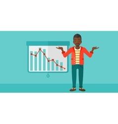 Man with decreasing chart vector image