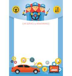 Mechanic and Car Maintenance Service Frame vector