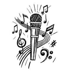 microphone and notes sketch vector image