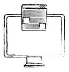 Monitor computer with template webpage vector
