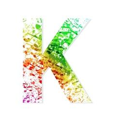 Music theme grungy font Letter K vector