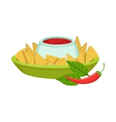 NAchos With Spicy Dip Traditional Mexican Cuisine vector