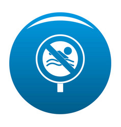 no swimming icon blue vector image