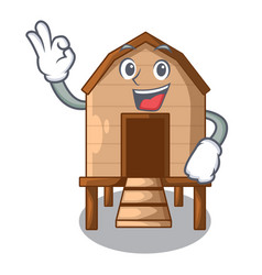 Okay chicken coop isolated on a mascot vector