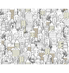 Pattern with hand drawn doodle houses vector