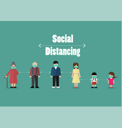 people keeping distance for infection risk and vector image
