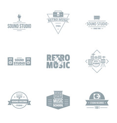 Piece of music logo set simple style vector